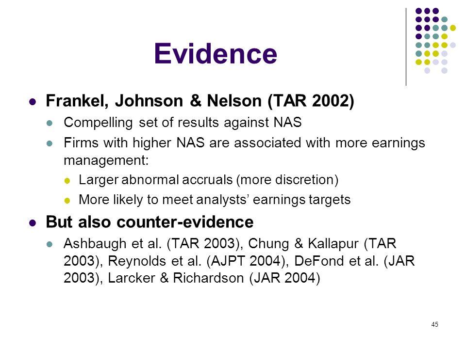 Evidence Frankel, Johnson & Nelson (TAR 2002)