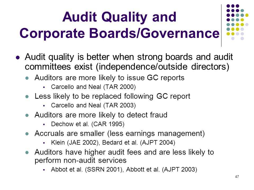 Audit Quality and Corporate Boards/Governance