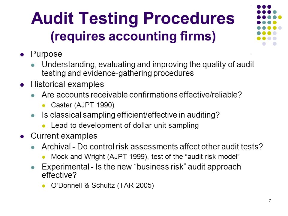 Audit Testing Procedures (requires accounting firms)