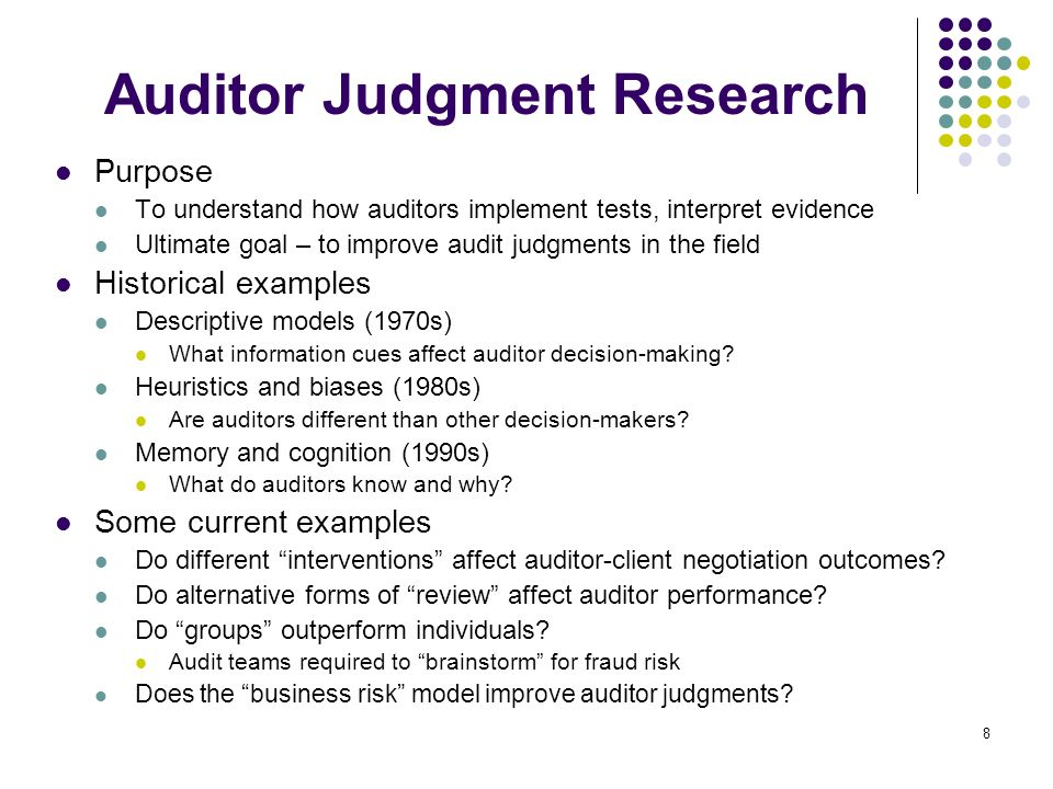 Auditor Judgment Research