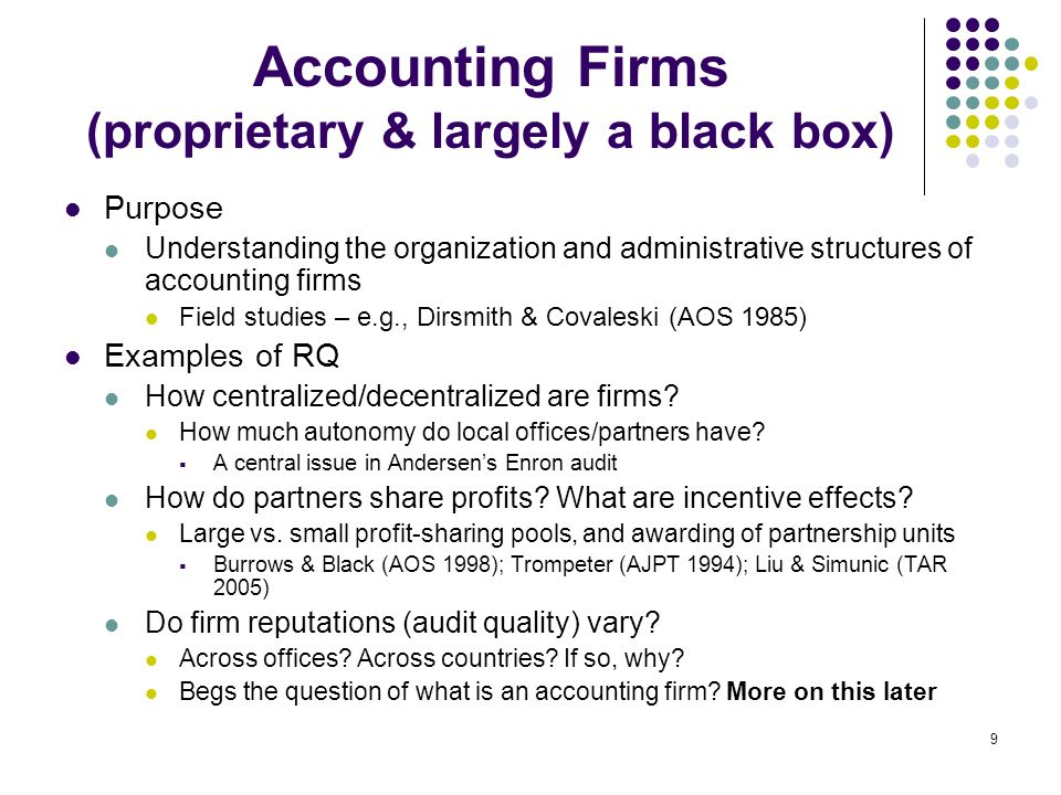 Accounting Firms (proprietary & largely a black box)