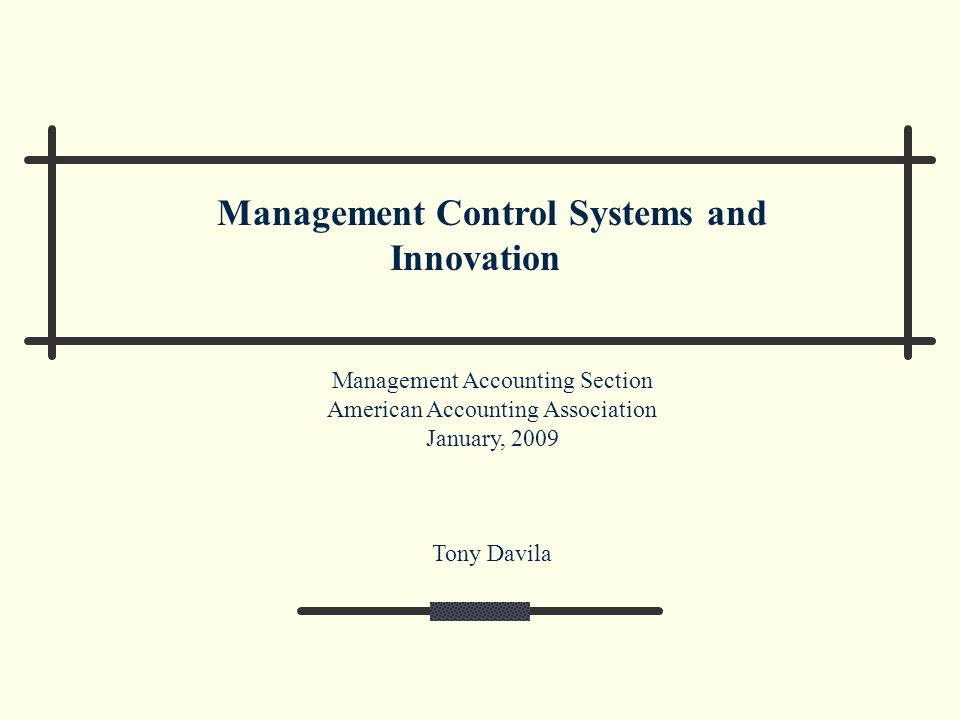 Management Control Systems and Innovation