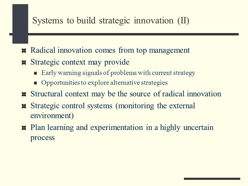 Systems to build strategic innovation (II)