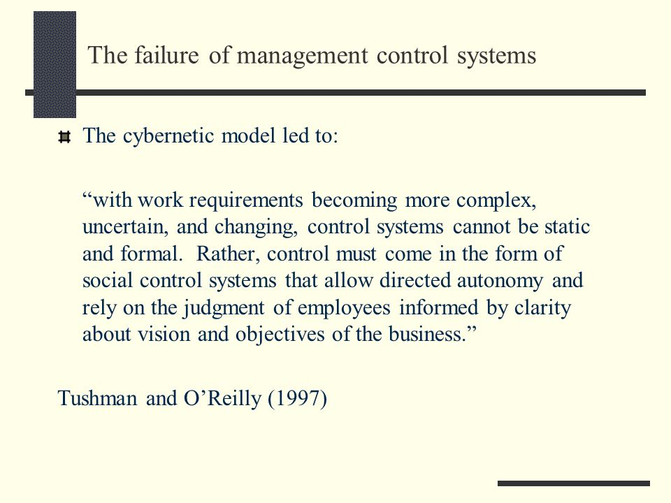 The failure of management control systems