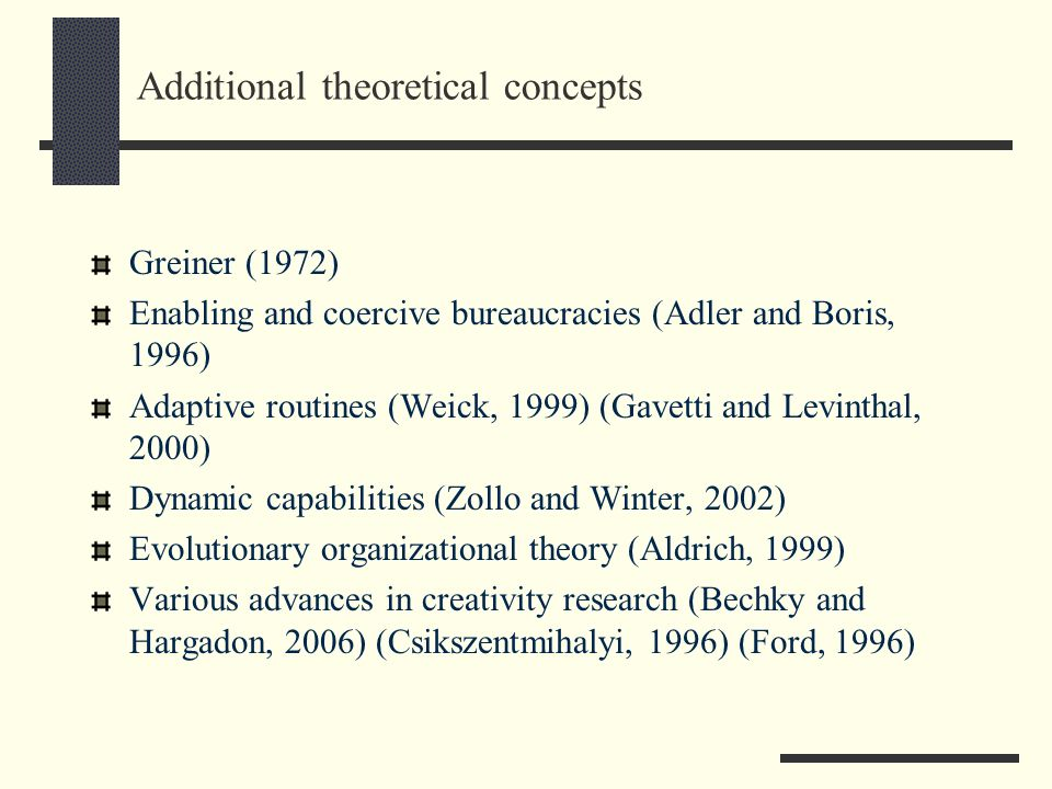 Additional theoretical concepts