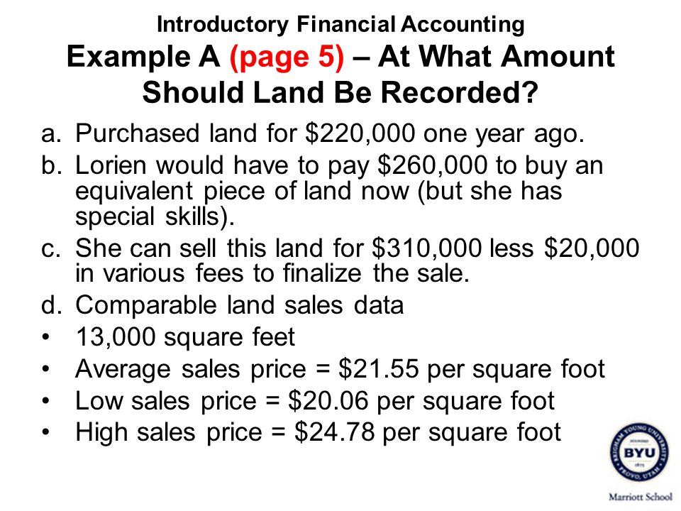 a. Purchased land for $220,000 one year ago.