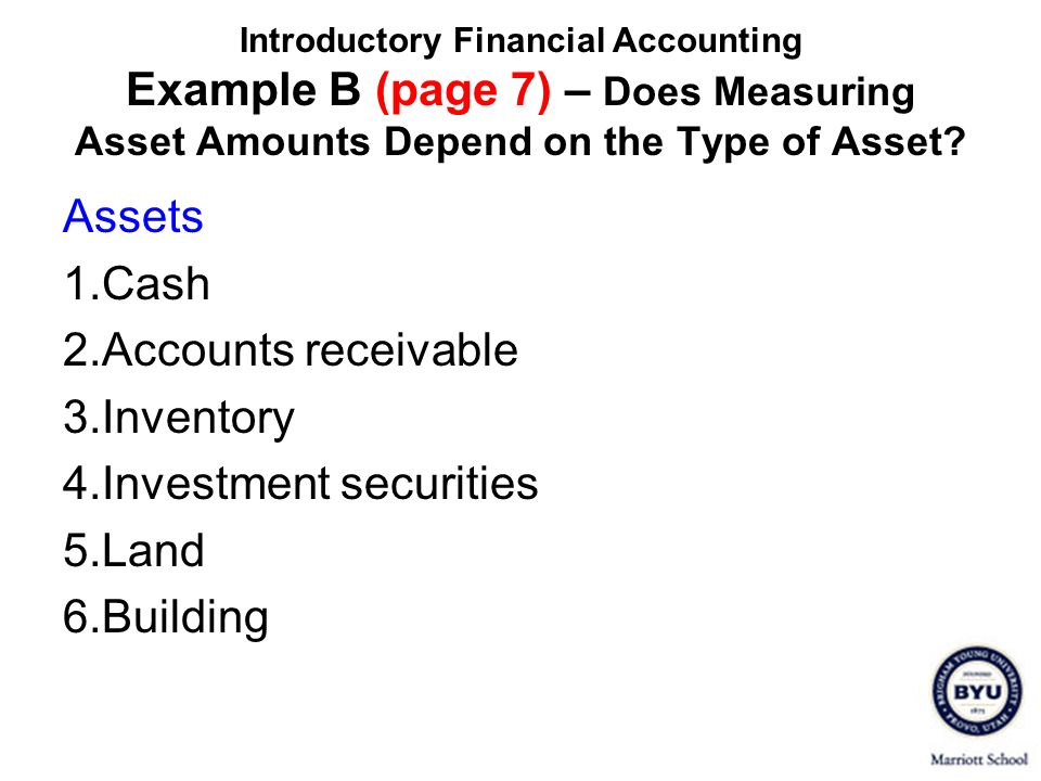 4. Investment securities 5. Land 6. Building