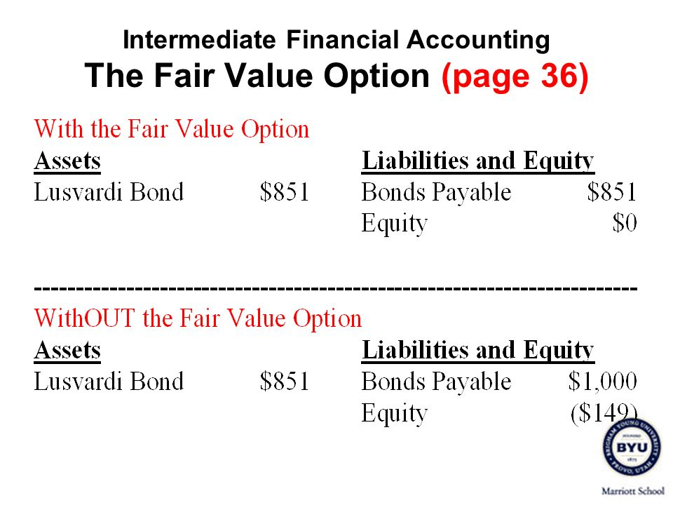 Intermediate Financial Accounting The Fair Value Option (page 36)