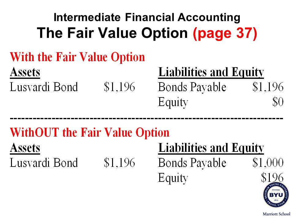 Intermediate Financial Accounting The Fair Value Option (page 37)