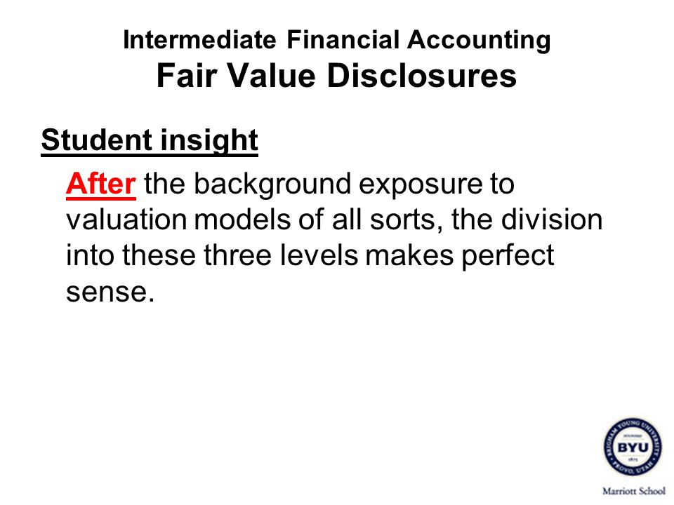 Intermediate Financial Accounting Fair Value Disclosures