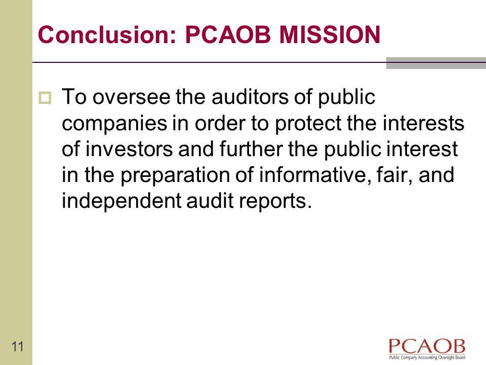 Conclusion: PCAOB MISSION