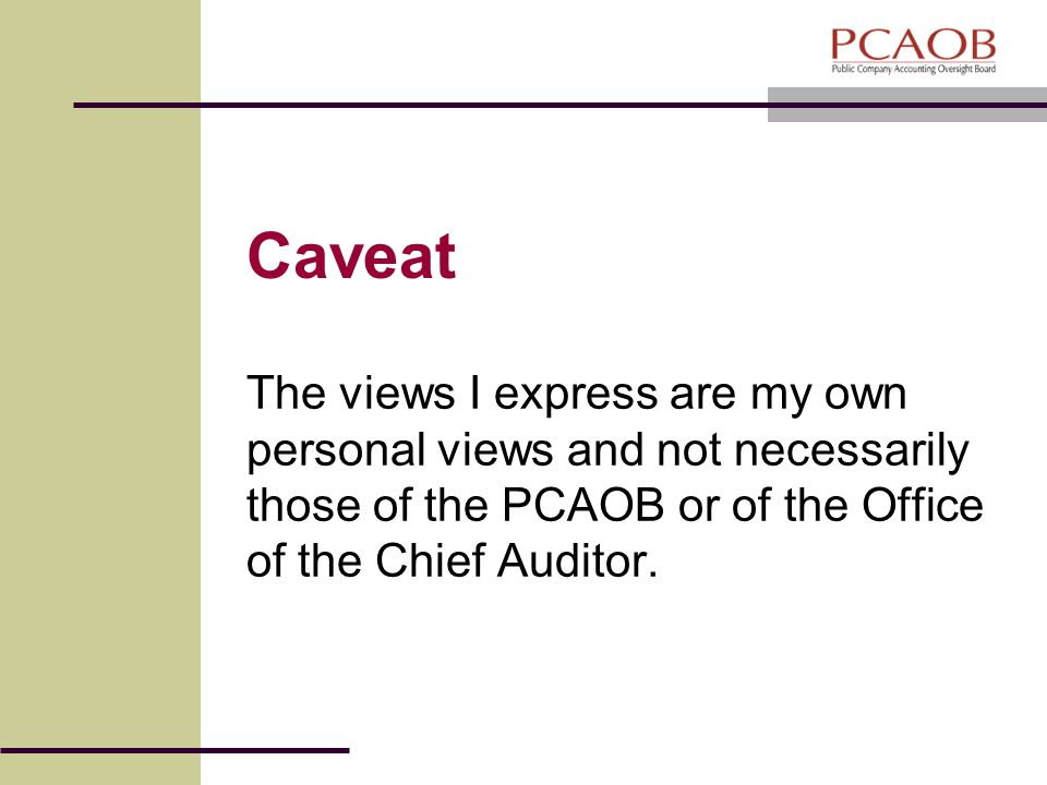 Caveat The views I express are my own personal views and not necessarily those of the PCAOB or of the Office of the Chief Auditor.