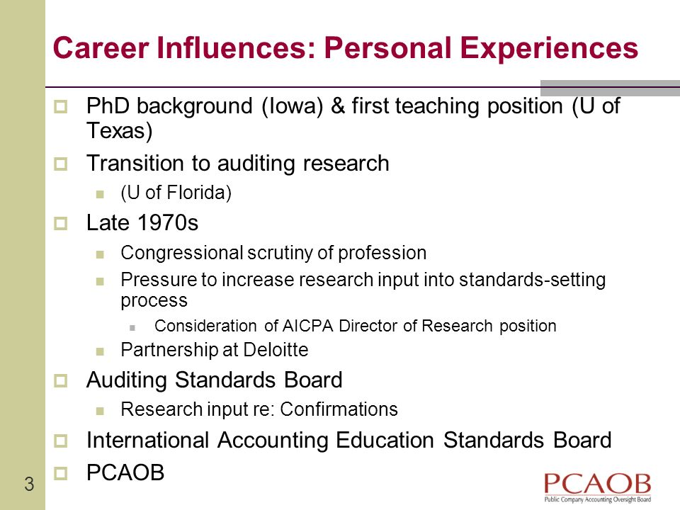 Career Influences: Personal Experiences