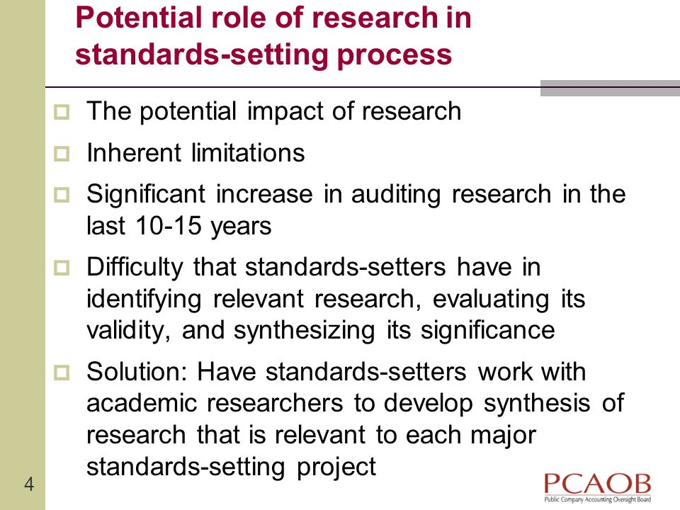 Potential role of research in standards-setting process