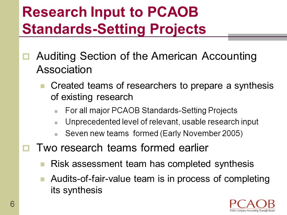 Research Input to PCAOB Standards-Setting Projects