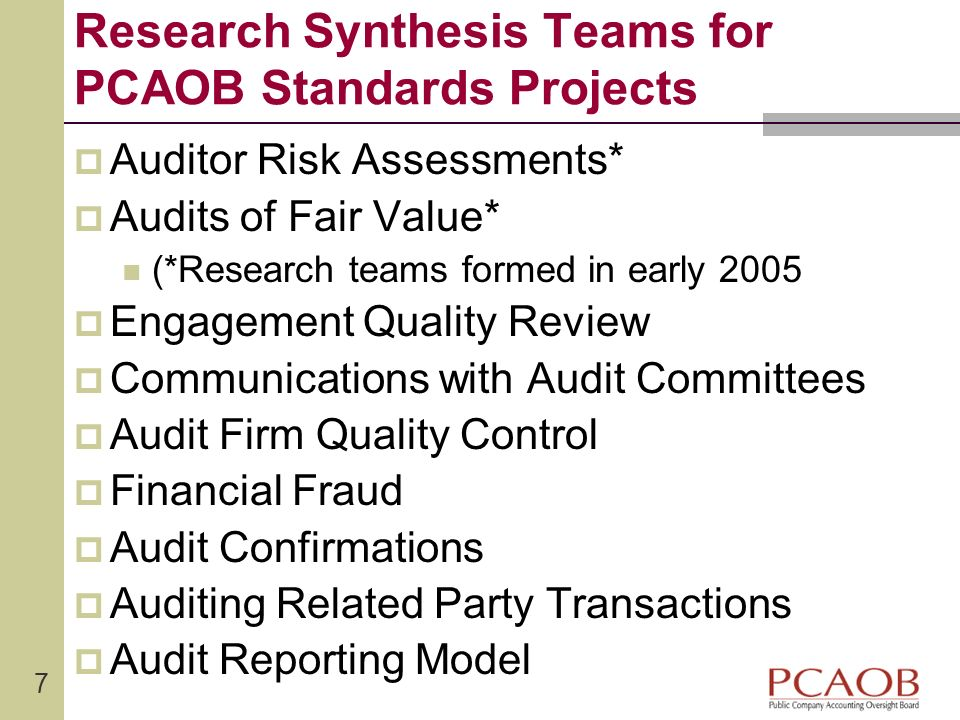 Research Synthesis Teams for PCAOB Standards Projects