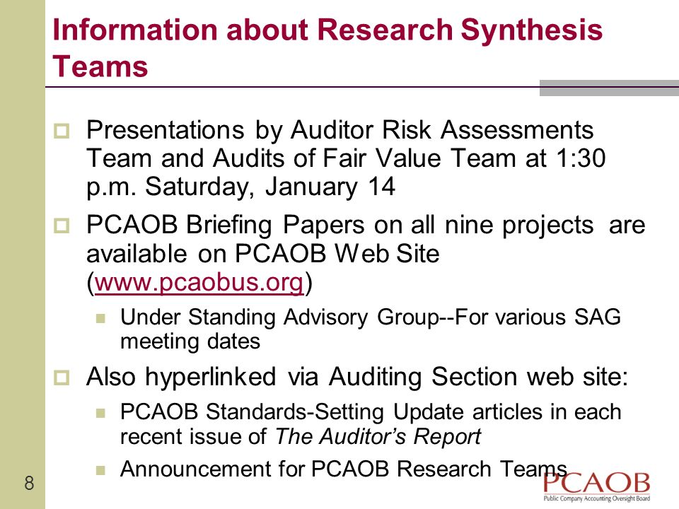 Information about Research Synthesis Teams