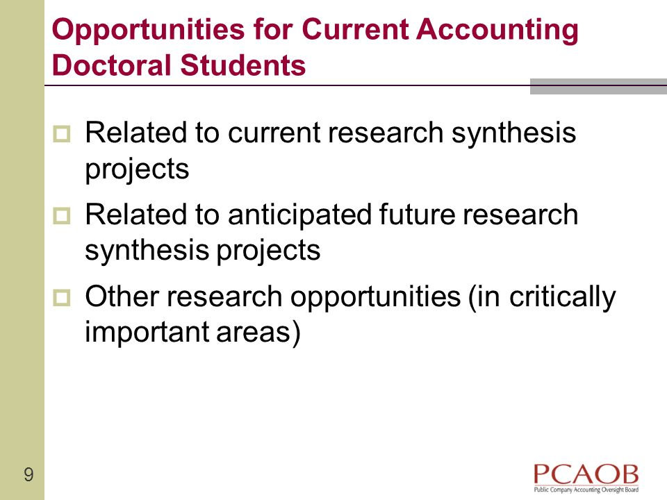 Opportunities for Current Accounting Doctoral Students