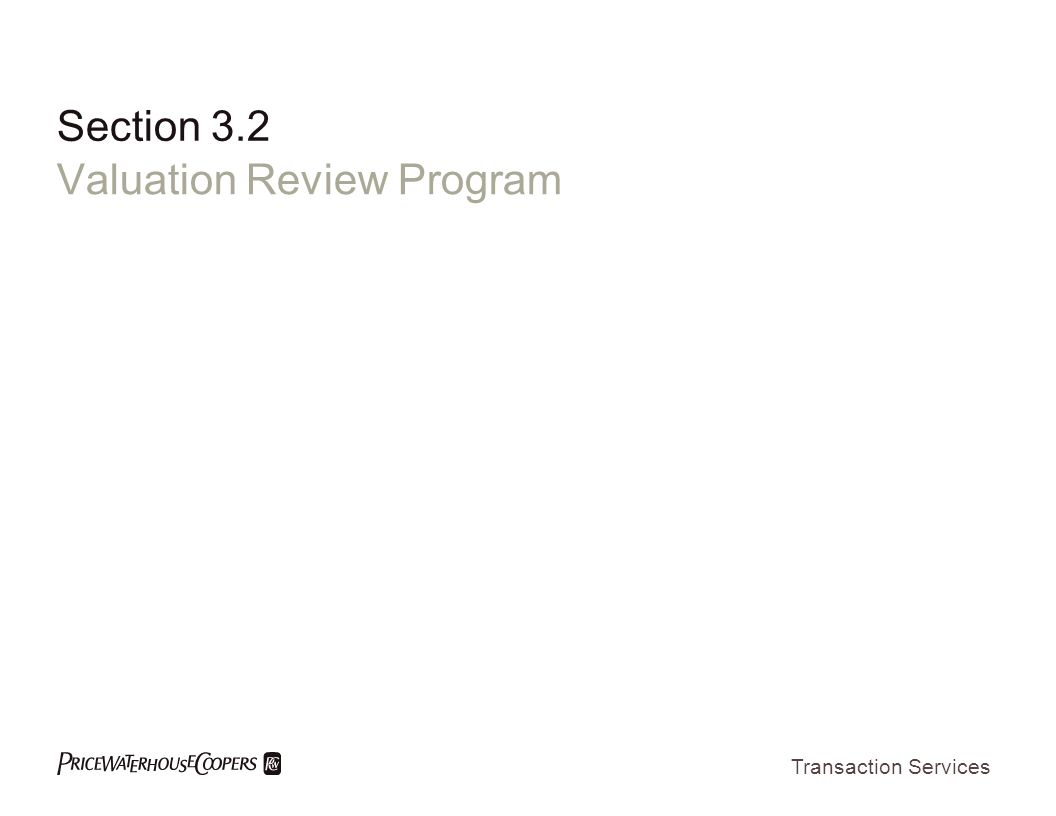 Valuation Review Program