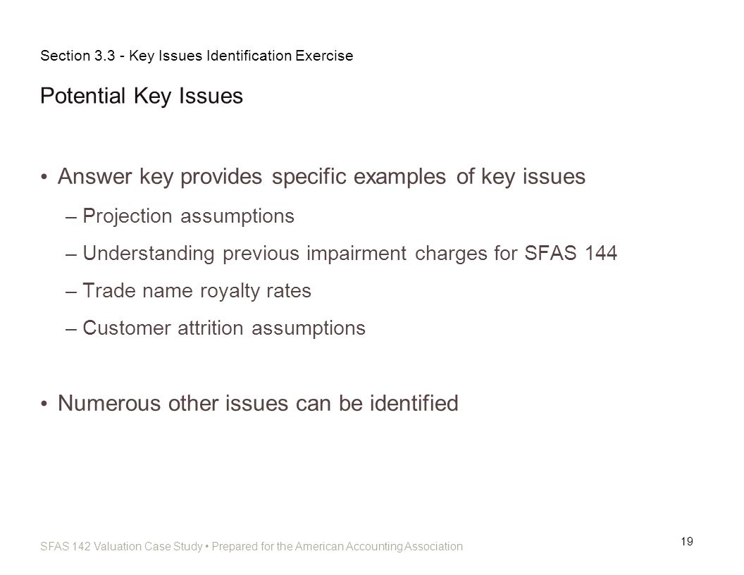 Answer key provides specific examples of key issues