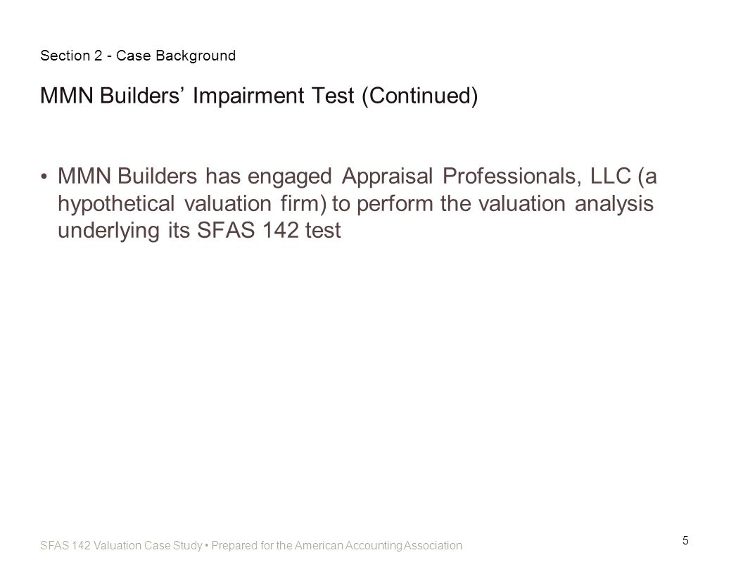 MMN Builders' Impairment Test (Continued)