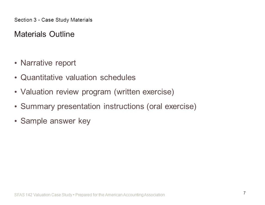 Quantitative valuation schedules