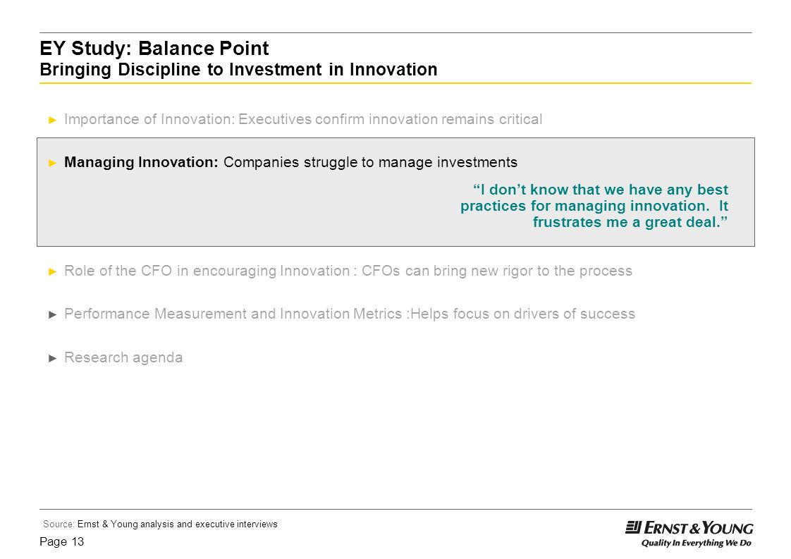 EY Study: Balance Point Bringing Discipline to Investment in Innovation