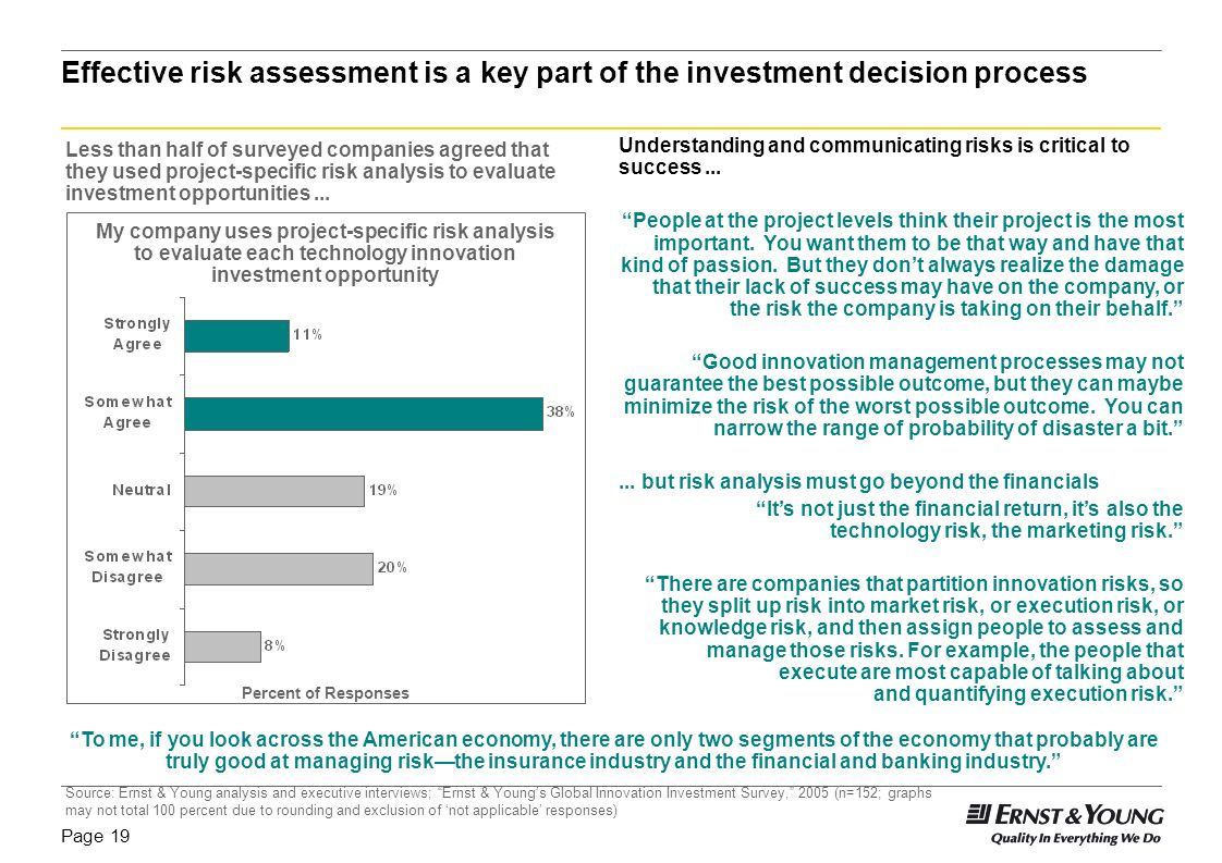 Effective risk assessment is a key part of the investment decision process