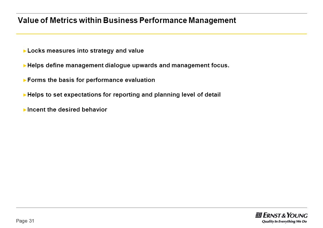 Value of Metrics within Business Performance Management