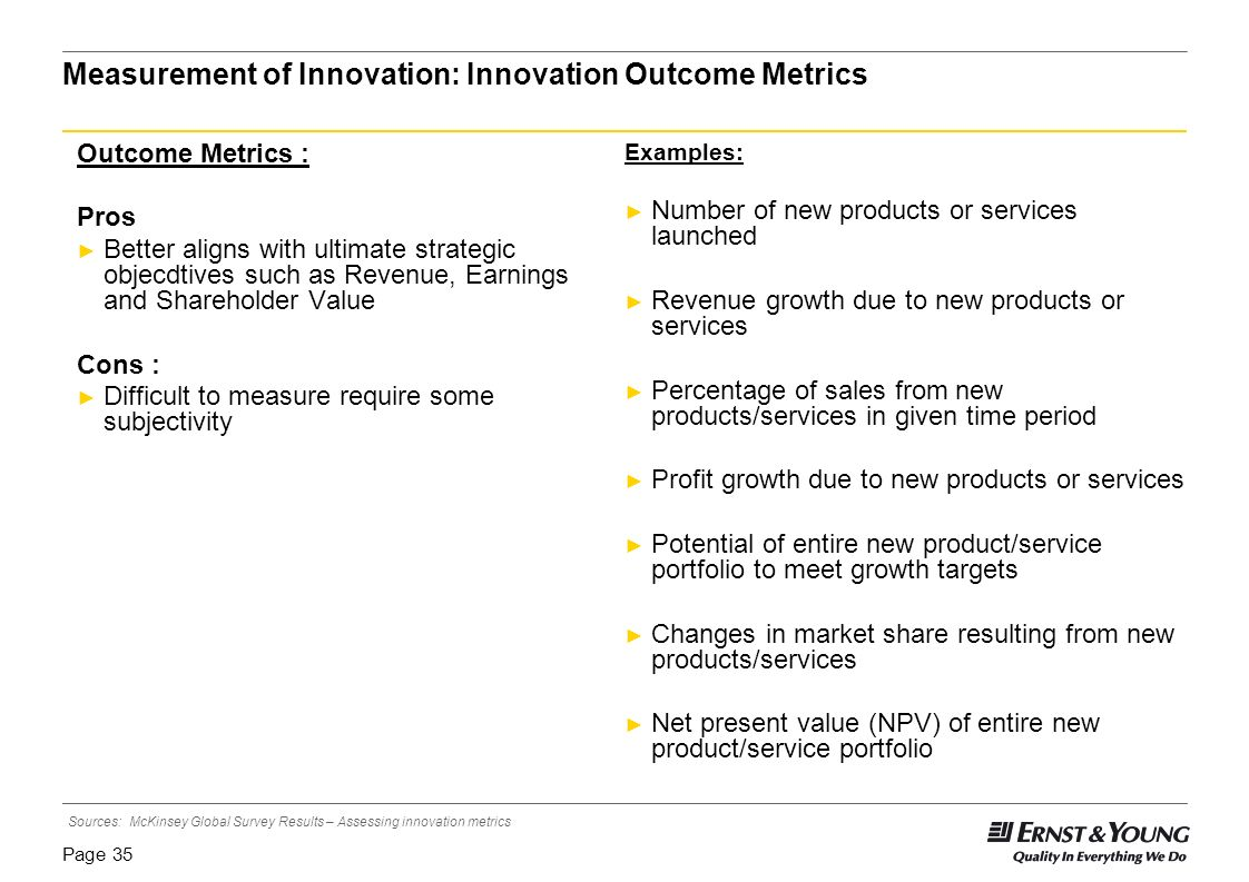 Measurement of Innovation: Innovation Outcome Metrics