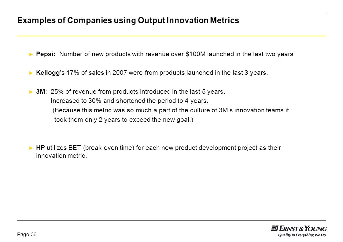 Examples of Companies using Output Innovation Metrics