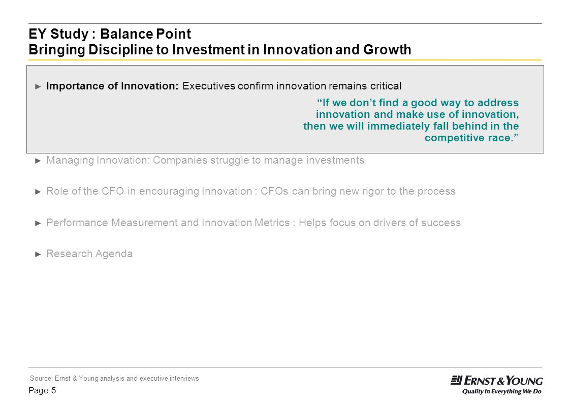 EY Study : Balance Point Bringing Discipline to Investment in Innovation and Growth