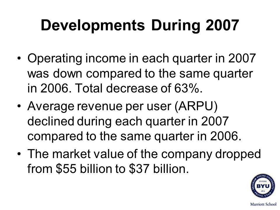 Developments During 2007 Operating income in each quarter in 2007 was down compared to the same quarter in Total decrease of 63%.
