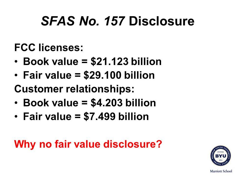 SFAS No. 157 Disclosure FCC licenses: Book value = $21.123 billion