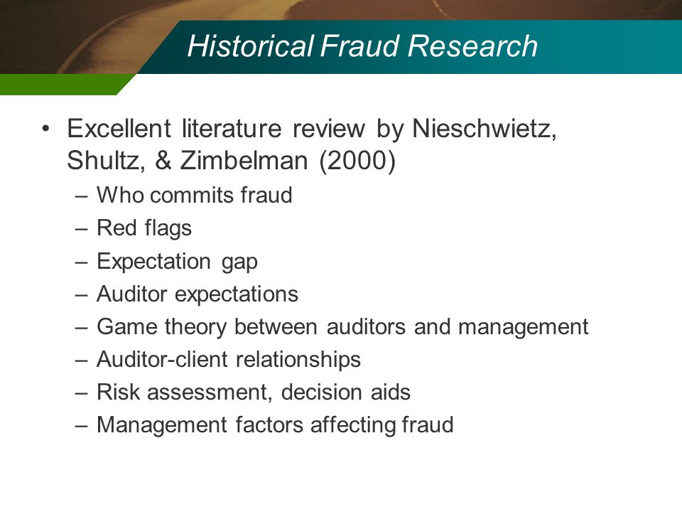 Historical Fraud Research