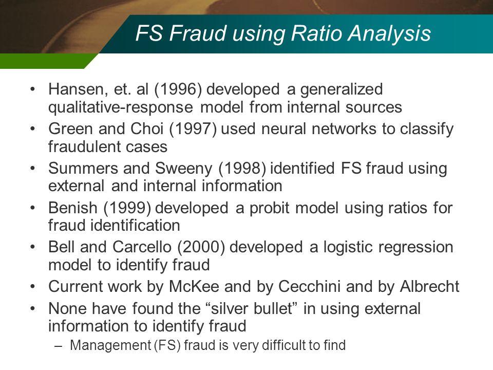 FS Fraud using Ratio Analysis