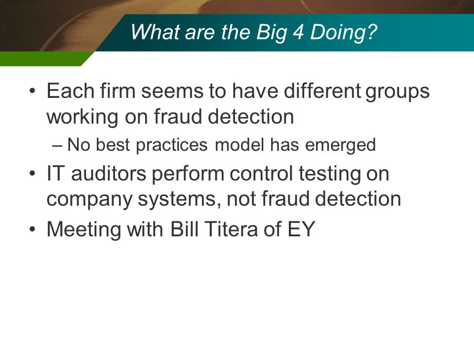 Each firm seems to have different groups working on fraud detection