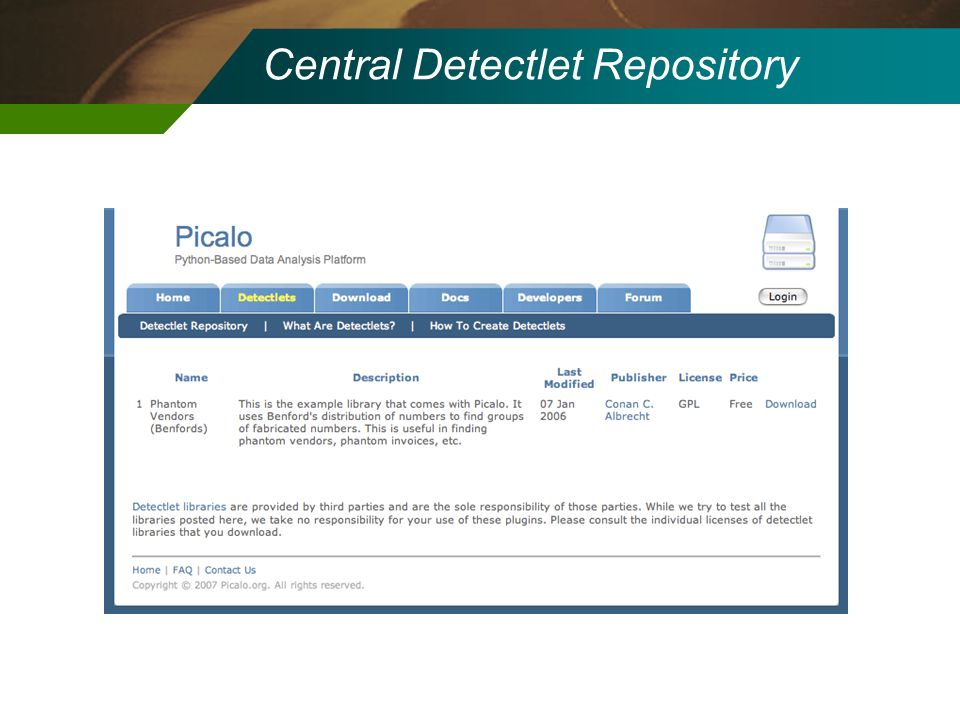 Central Detectlet Repository