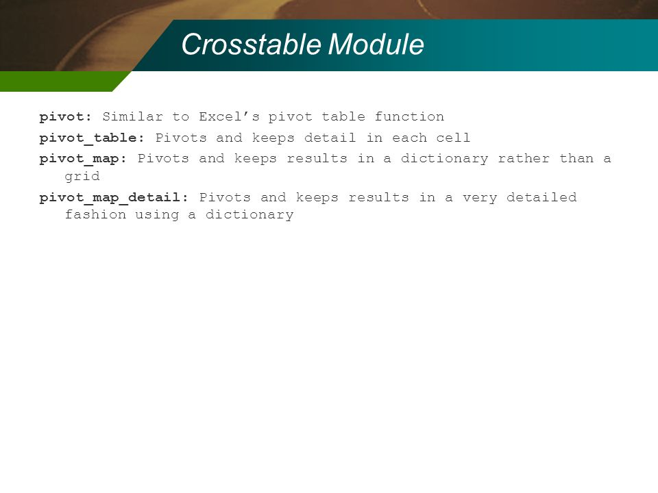Crosstable Module pivot: Similar to Excel's pivot table function