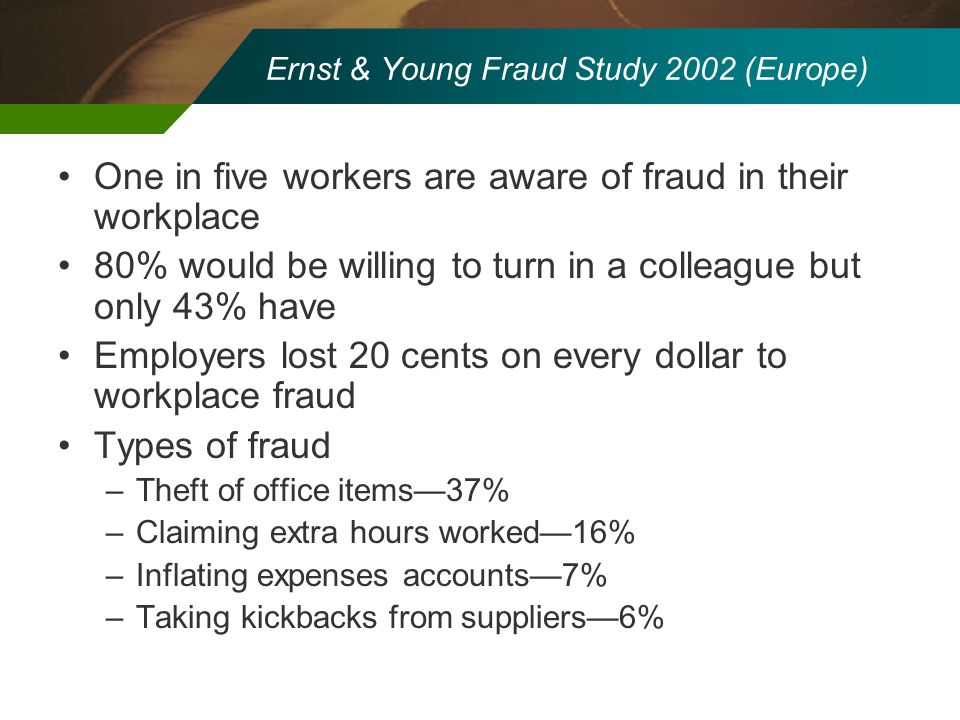 Ernst & Young Fraud Study 2002 (Europe)