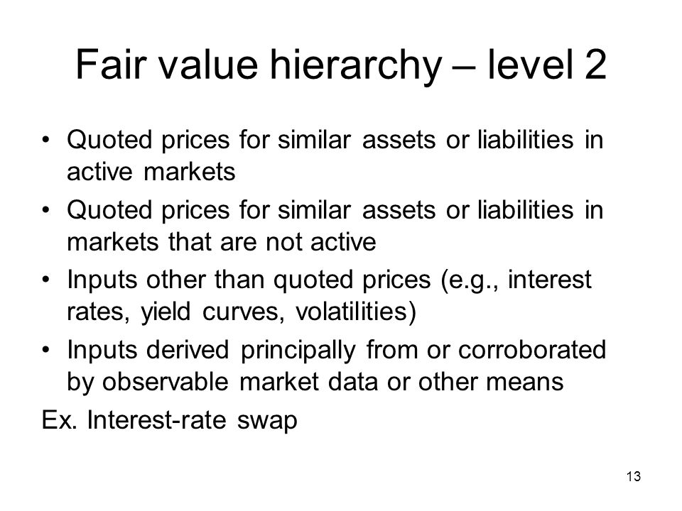 Fair value hierarchy – level 2