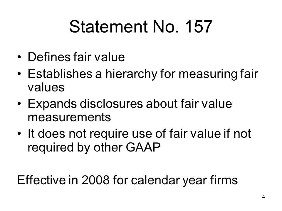 Statement No. 157 Defines fair value
