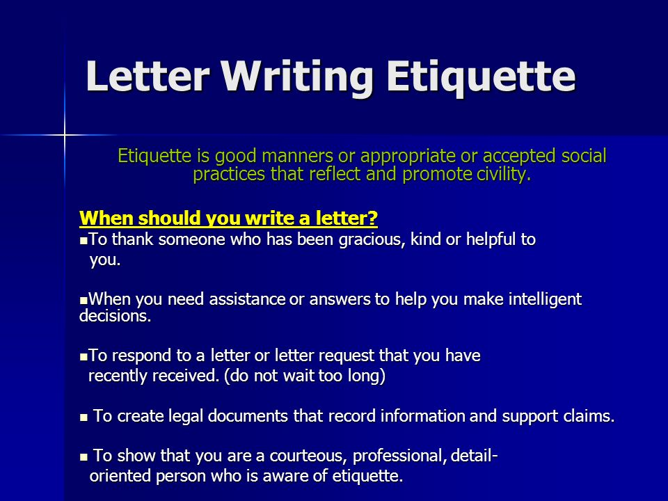 Etiquette for Writing Business Letters