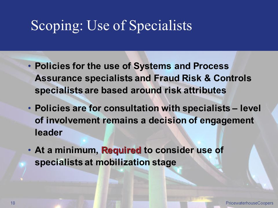 Scoping: Use of Specialists