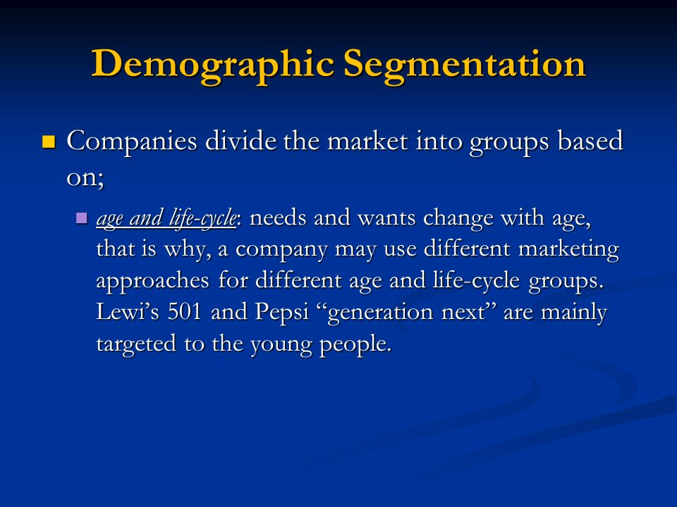"pepsi market segmentation Bic's ""for her"" pens, for instance (elevator pitch: ""a range of pens with floral  patterns on them""), took a useful idea (""market segmentation"") and."