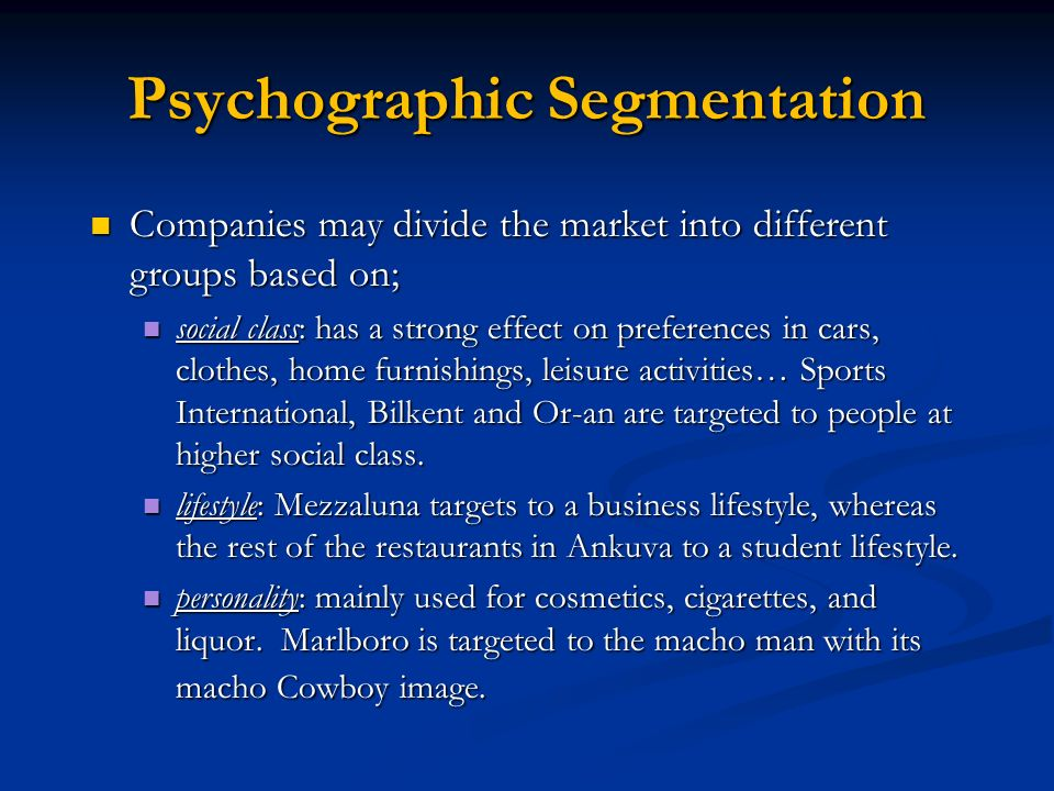 sport drinks psychographic segmentation Psychographic segmentation is dividing your market based upon consumer personality traits, values, attitudes, interests, and lifestyles segmentation will allow you to better develop and market.