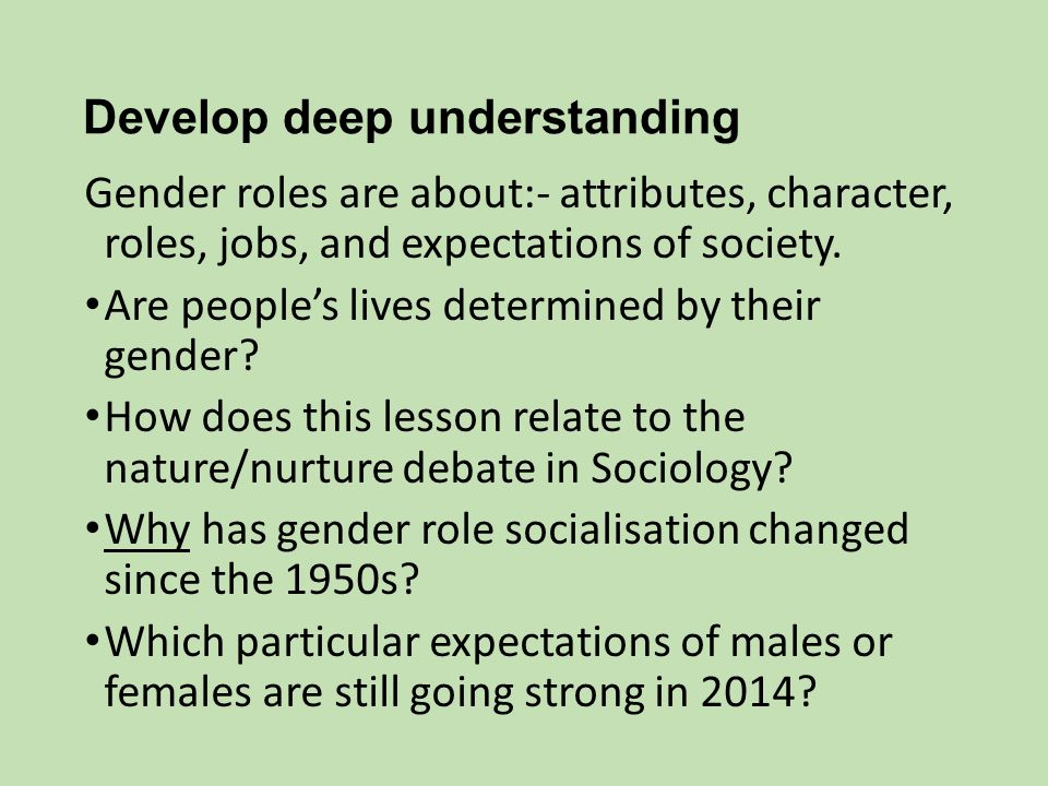 gender roles and expectations Gender roles and expectations are learned they can change over time and they  vary within and between cultures systems of social differentiation such as.
