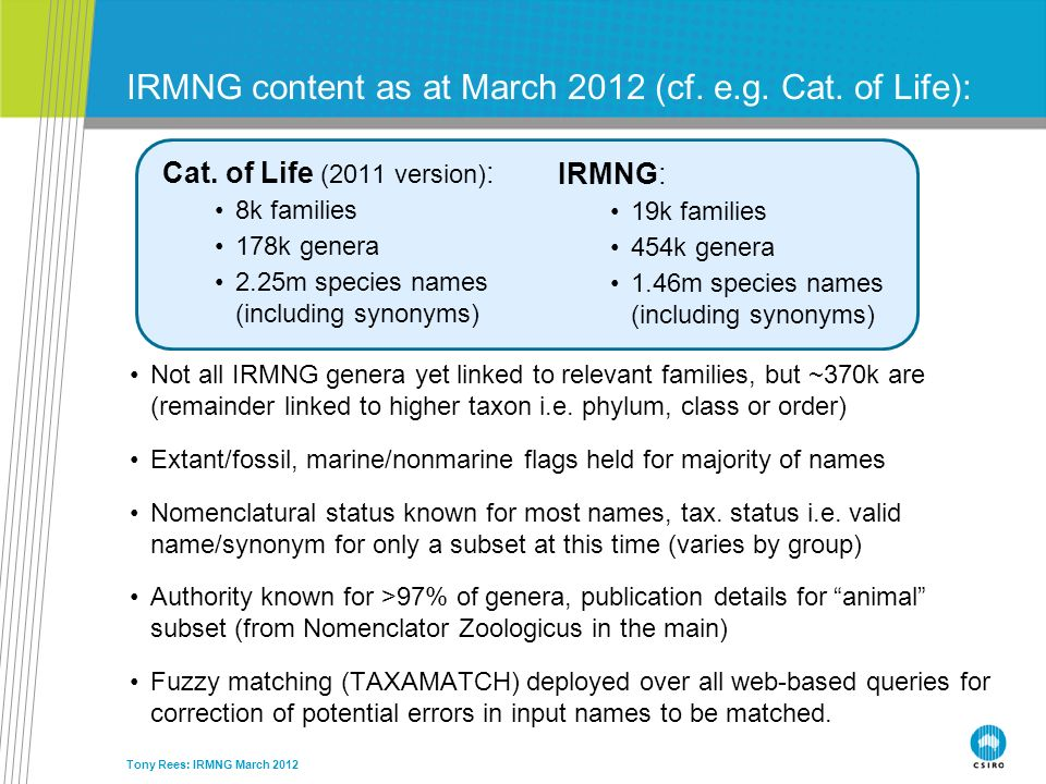 IRMNG content as at March 2012 (cf. e.g. Cat. of Life):