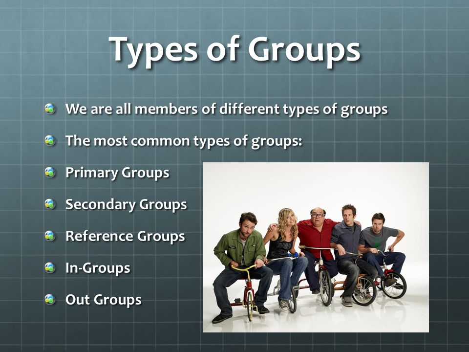 Types of Groups We are all members of different types of groups