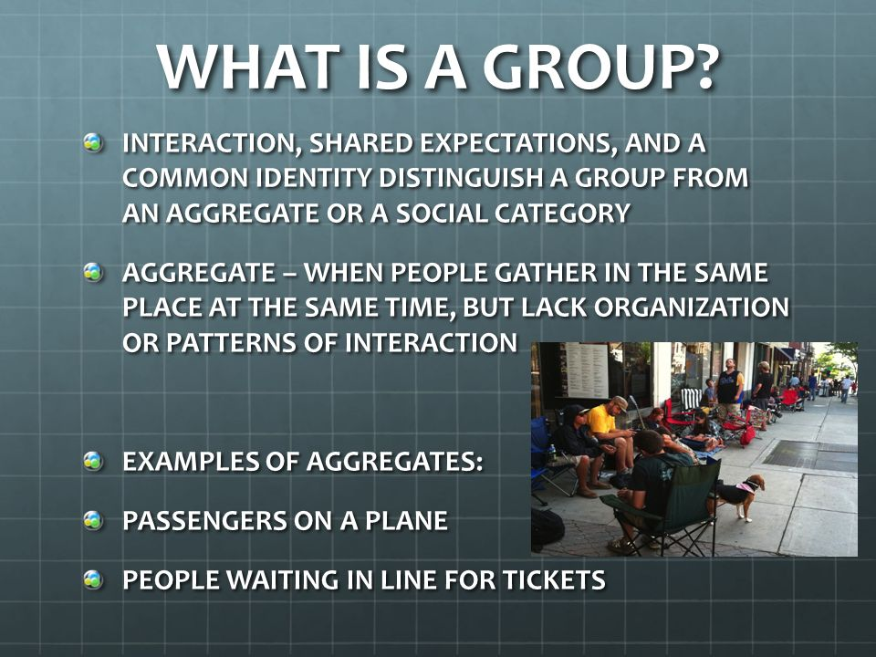 WHAT IS A GROUP INTERACTION, SHARED EXPECTATIONS, AND A COMMON IDENTITY DISTINGUISH A GROUP FROM AN AGGREGATE OR A SOCIAL CATEGORY.